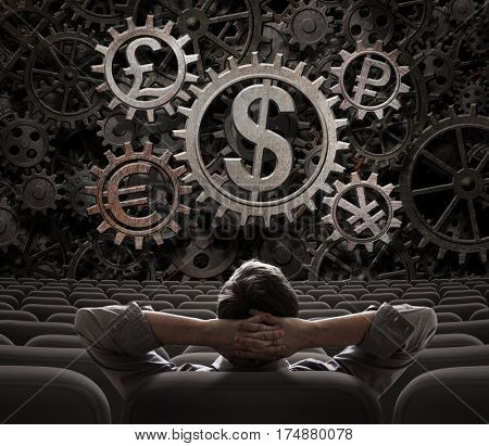 trader or broker looking on main currencies working gears 3d illustration
