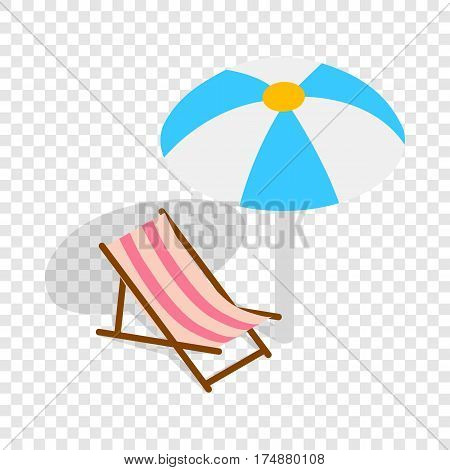 Beach chaise lounge with umbrella isometric icon 3d on a transparent background vector illustration