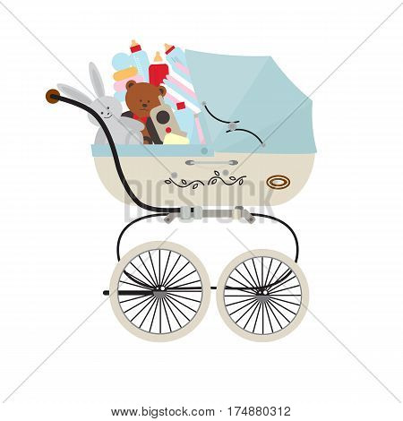 Child carriage with baby accessories isolated on white background vector illustration. Kids market, baby store concept in flat design. Baby care product, equipment for newborn, toys, children bottle.
