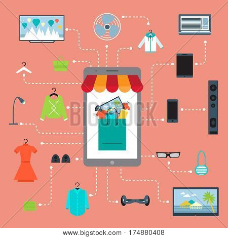 Online shopping in mall infographic vector illustration. Ecommerce concept with shop website in smartphone screen. Buy in internet clothes, electronic technics and other at home, online retailer