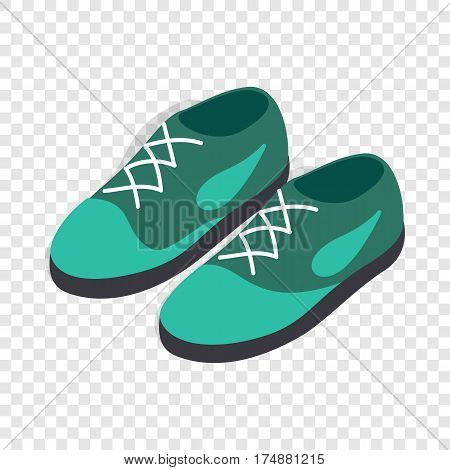 Turquoise shoes with laces isometric icon 3d on a transparent background vector illustration