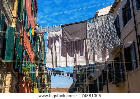 Alley In Venice With Clotheslines