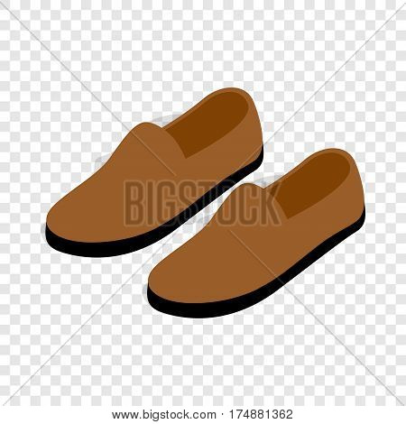 Brown leather shoe isometric icon 3d on a transparent background vector illustration
