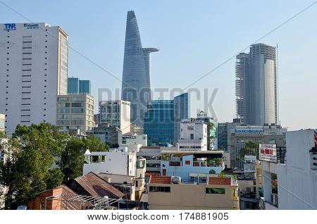 Aerial View Cityscape Of Saigon City
