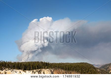 Smoke from  forest fire in Yellowstone National Park