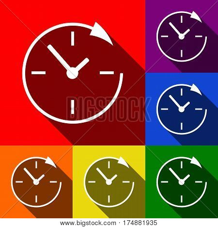 Service and support for customers around the clock and 24 hours. Vector. Set of icons with flat shadows at red, orange, yellow, green, blue and violet background.