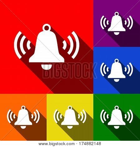 Ringing bell icon. Vector. Set of icons with flat shadows at red, orange, yellow, green, blue and violet background.