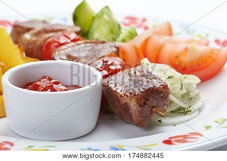 kebab with vegetables