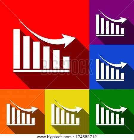 Declining graph sign. Vector. Set of icons with flat shadows at red, orange, yellow, green, blue and violet background.