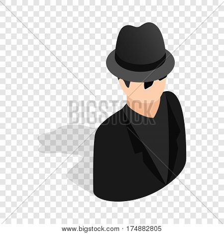 Man in black sunglasses and black hat isometric icon 3d on a transparent background vector illustration