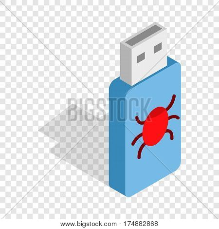 Infected USB flash drive isometric icon 3d on a transparent background vector illustration