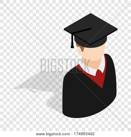 Graduate man in cap and gown isometric icon 3d on a transparent background vector illustration