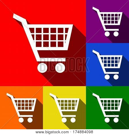 Shopping cart sign. Vector. Set of icons with flat shadows at red, orange, yellow, green, blue and violet background.