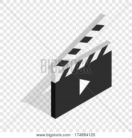 Clapperboard open with play button isometric icon 3d on a transparent background vector illustration