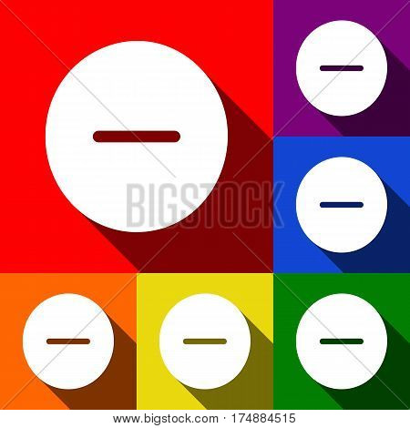Negative symbol illustration. Minus sign. Vector. Set of icons with flat shadows at red, orange, yellow, green, blue and violet background.
