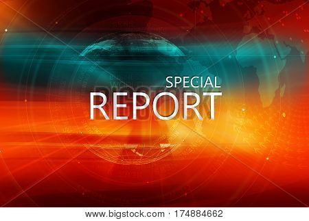 Graphical Special Report Background with Earth Globe in Background 3d illustration 3d render