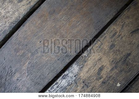 Rustic wood planks closeup. Rough lumber surface. Cool brown wooden background for vintage card. Timber texture closeup. Wooden board wallpaper or backdrop photo. Natural material banner template