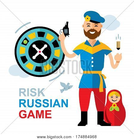 Russian with gun and bullet. Isolated on a white background