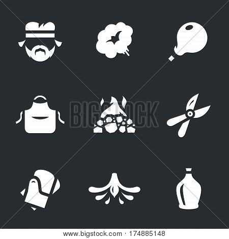 Man, steam, glass, apron, oven, scissors, gloves, chandelier, bottle.