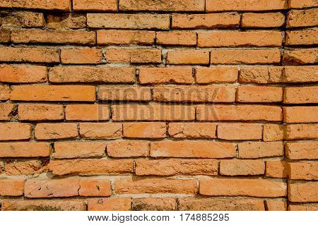Surface of old red brick wall. Red brick wall surface for background