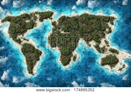 Island Earth map globe shape travel destination