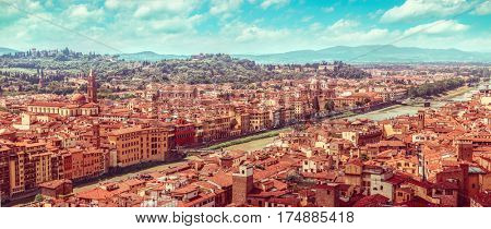 Evening sunset landscape view to ancient town Florence Arno river, Tuscany, Italy.