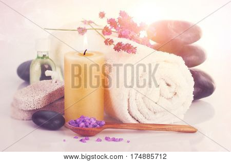 Spa still life with lavender saltl isolated on white background.