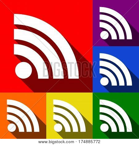 RSS sign illustration. Vector. Set of icons with flat shadows at red, orange, yellow, green, blue and violet background.