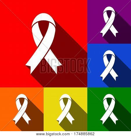Black awareness ribbon sign. Vector. Set of icons with flat shadows at red, orange, yellow, green, blue and violet background.