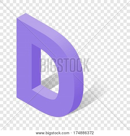D letter in isometric 3d style with shadow. Violet D letter vector illustration
