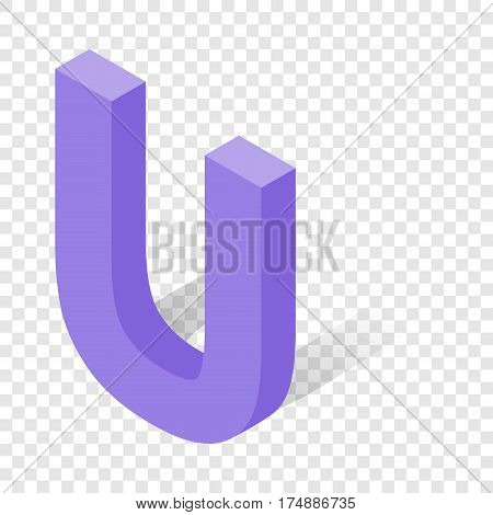 U letter in isometric 3d style with shadow. Violet U letter vector illustration
