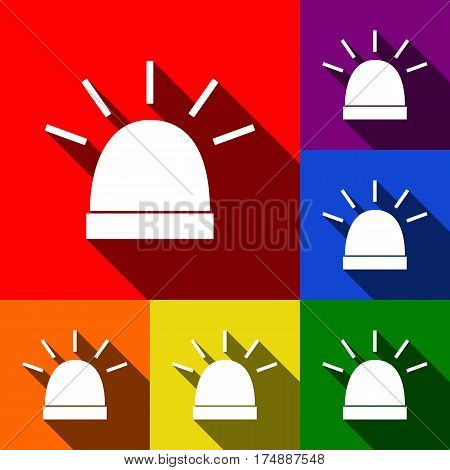 Police single sign. Vector. Set of icons with flat shadows at red, orange, yellow, green, blue and violet background.