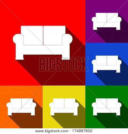 Sofa sign illustration. Vector. Set of icons with flat shadows at red, orange, yellow, green, blue and violet background.