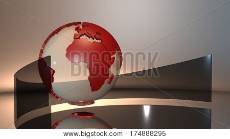 Advanced futuristic scene of a 3d spinning glass Earth globe with red extruded continents. 3D rendering.