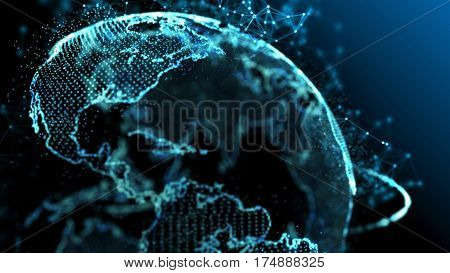 Blue earth technology, business and communications background. Earth globe with plexus particles around. Room for your text and logo. 3D rendering.