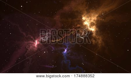 Flying into 3D fantastic colorful nebula galaxies evolving in deep space with stars and plexus formations passing. 3D rendering.