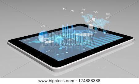 3D modern financial instruments (graphs, charts and Earth globe) on a tablet screen. Electronic on-line business concept. Depth of field settings. 3D rendering.