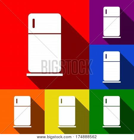 Refrigerator sign illustration. Vector. Set of icons with flat shadows at red, orange, yellow, green, blue and violet background.