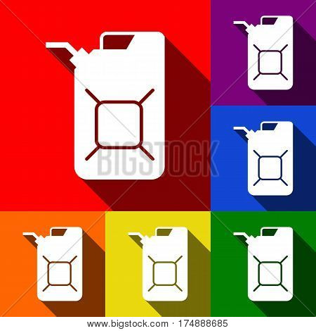 Jerrycan oil sign. Jerry can oil sign. Vector. Set of icons with flat shadows at red, orange, yellow, green, blue and violet background.