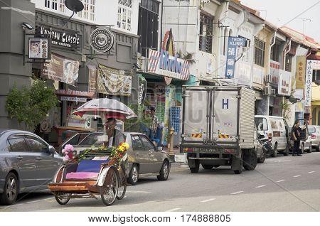 Malaysian People Riding Rickshaw Service Traveller Tour Around Georgetown