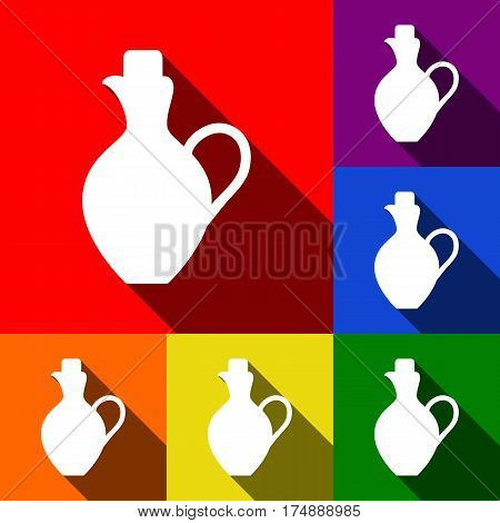 Amphora sign illustration. Vector. Set of icons with flat shadows at red, orange, yellow, green, blue and violet background.