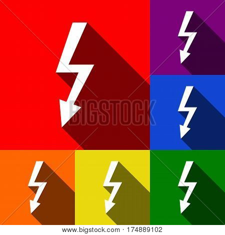 High voltage danger sign. Vector. Set of icons with flat shadows at red, orange, yellow, green, blue and violet background.