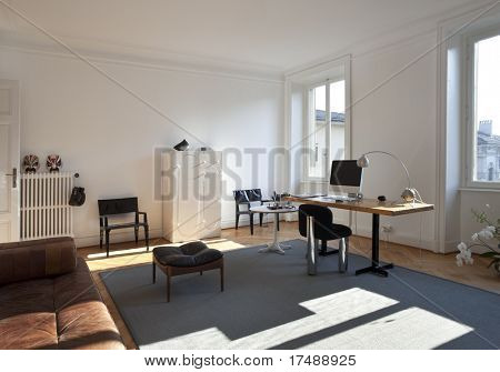nice apartment refitted, studio room with furniture retro poster