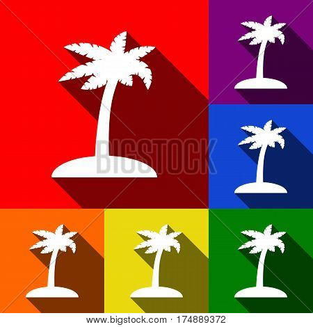 Coconut palm tree sign. Vector. Set of icons with flat shadows at red, orange, yellow, green, blue and violet background.
