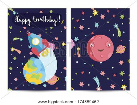 Happy birthday cartoon greeting card on cosmic theme. Rocket flying from Earth to space, smiling Mars planet surrounded stars and comets vector illustration. Invitation on childrens costumed party