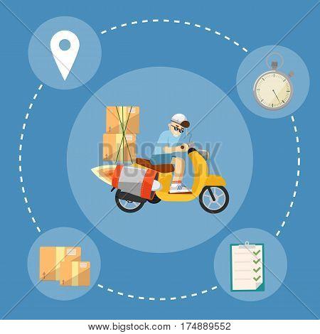 Delivery boy riding yellow scooter with jet engine and cardboard boxes isolated on blue background. Fast delivery banner, vector illustration. Motorcycle courier service.