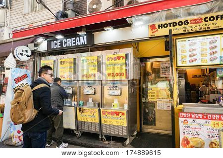 young man buy ice cream at shop taken in Seoul South Korea on 21 February 2017