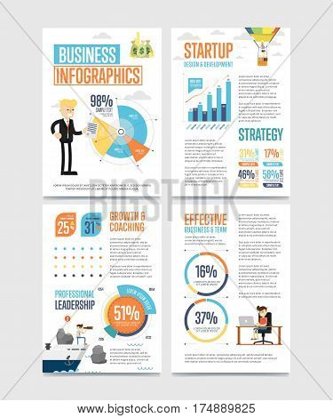 Business infographics banner set with charts vector illustration. Business statistics, planning, analytics, startup strategy, coaching, design, development. Data visualization elements, chart, graph.
