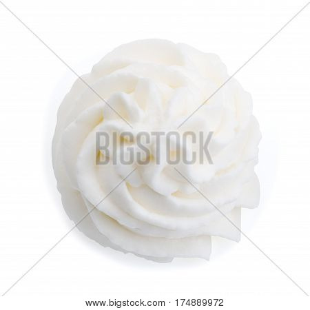 Whipped cream isolated on white background with clipping path. Top view.