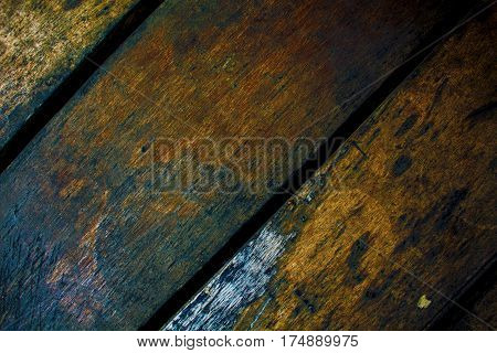 Vintage wood boards closeup. Rough lumber surface. Warm brown wooden background for shabby chic design. Timber texture closeup. Wooden table wallpaper or backdrop photo. Natural timber banner template
